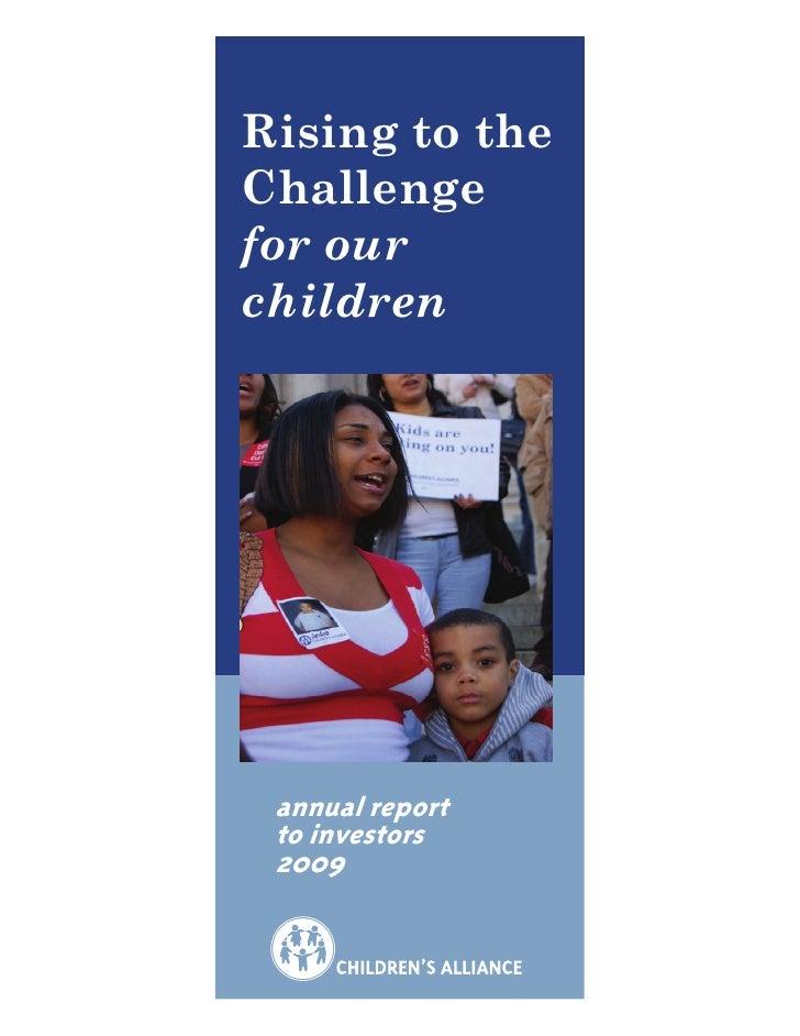 Children's Alliance 2009 Report to Investors