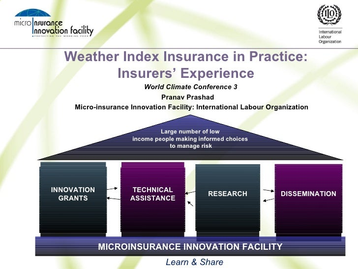 Weather Index Insurance in Practice: Insurers' Experience World Climate Conference 3  Pranav Prashad  Micro-insurance Inno...