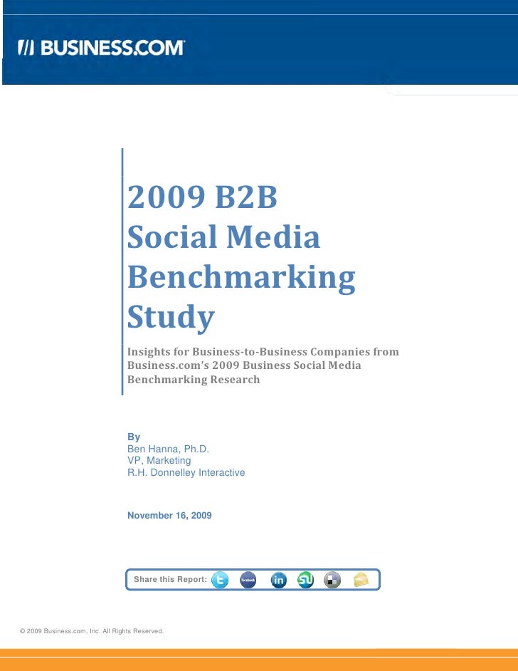 2009 B2B                                   Social Media                                   Benchmarking                    ...