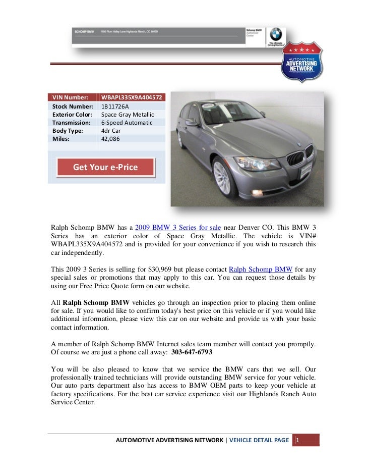 VIN Number:       WBAPL335X9A404572Stock Number:     1B11726AExterior Color:   Space Gray MetallicTransmission:     6-Spee...