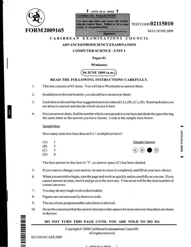 2009 CAPE Computer Science Unit 1 Paper 1