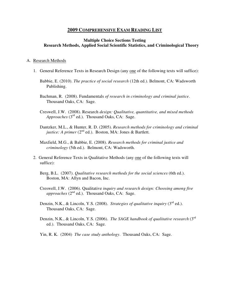 2009 COMPREHENSIVE EXAM READING LIST                            Multiple Choice Sections Testing         Research Methods,...