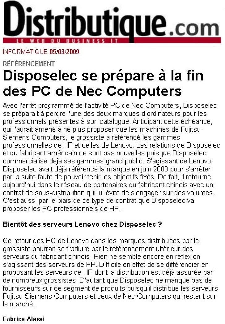 Disposelec - Arrêt Nec 2009