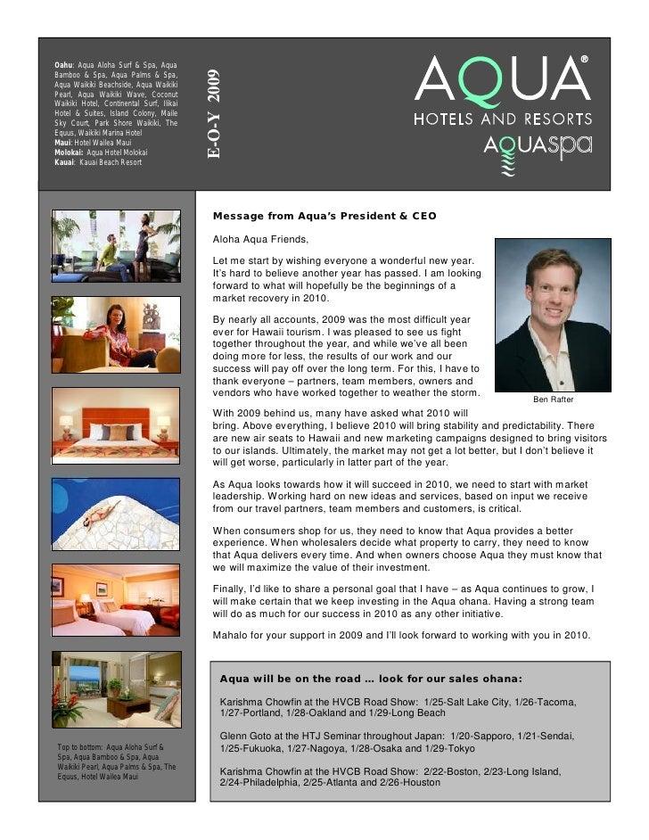 Aqua Hotels & Resorts 2009 EOY Marketing Newsletter