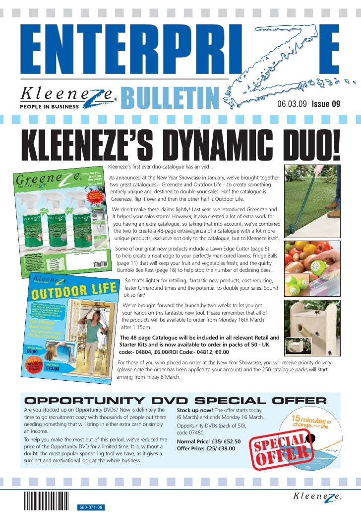 BULLETIN                                                                   06.03.09 Issue 09     KLEENEZE'S DYNAMIC DUO!  ...