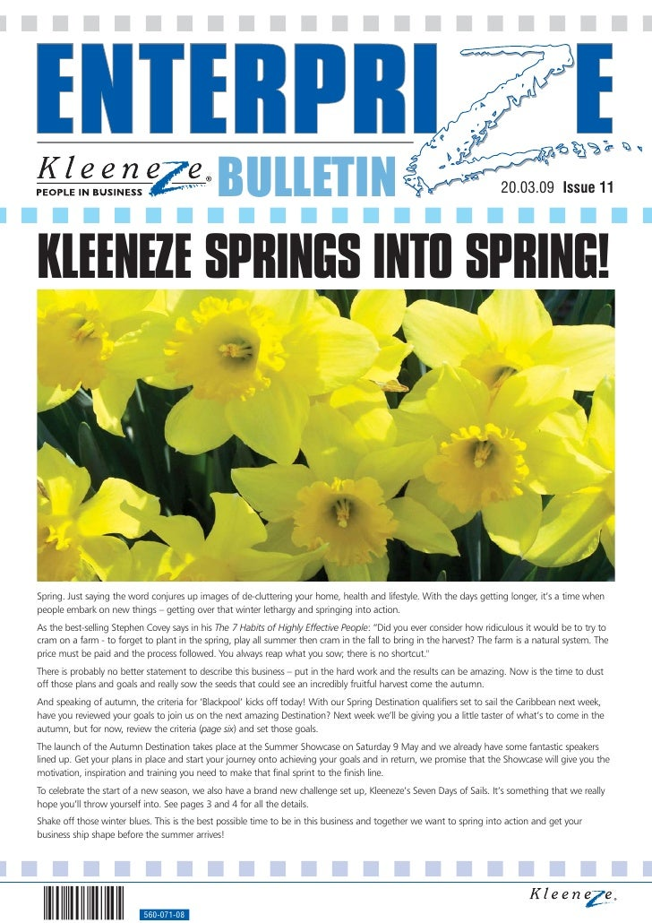 BULLETIN                                                                 20.03.09 Issue 11     KLEENEZE SPRINGS INTO SPRIN...