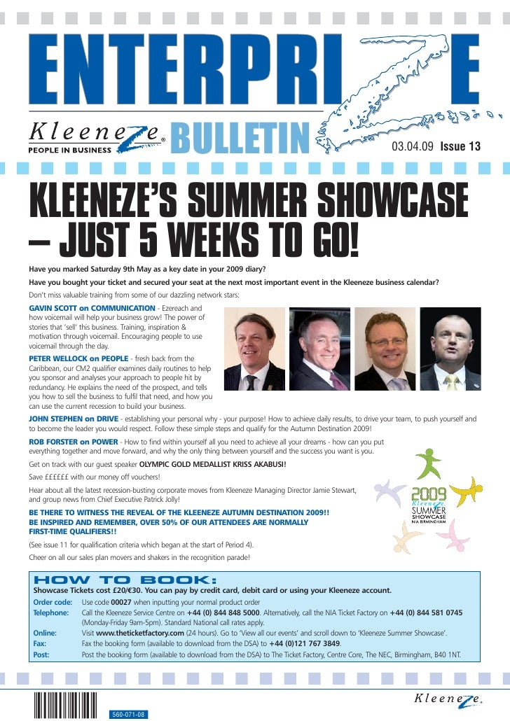 BULLETIN                                                             03.04.09 Issue 13     KLEENEZE'S SUMMER SHOWCASE – JU...