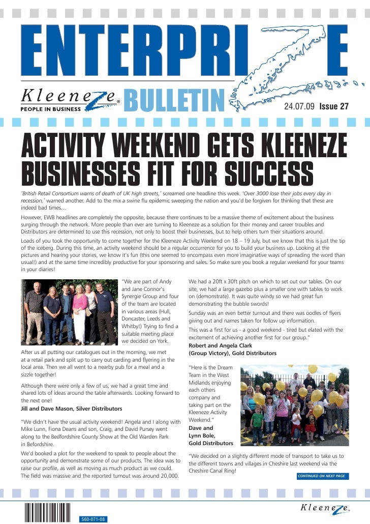 BULLETIN                                                             24.07.09 Issue 27     ACTIVITY WEEKEND GETS KLEENEZE ...