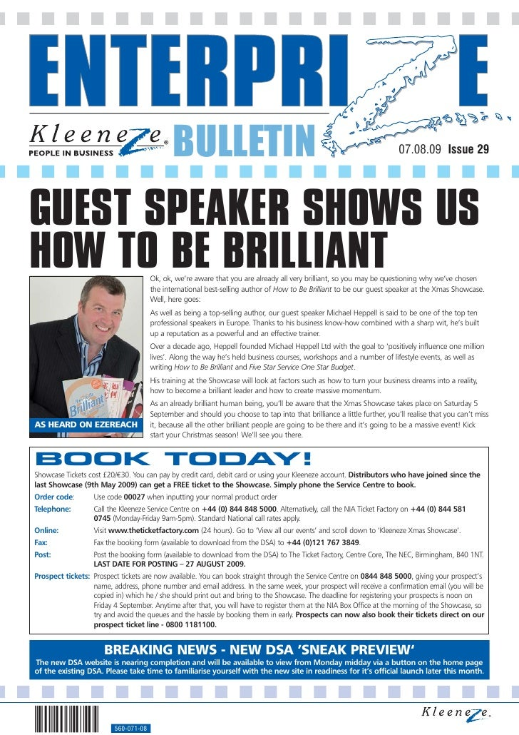 BULLETIN                                                                   07.08.09 Issue 29     GUEST SPEAKER SHOWS US HO...
