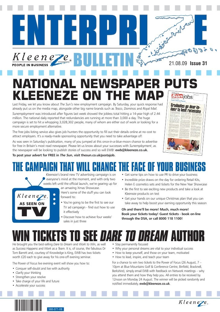 BULLETIN                                                                    21.08.09 Issue 31    NATIONAL NEWSPAPER PUTS K...