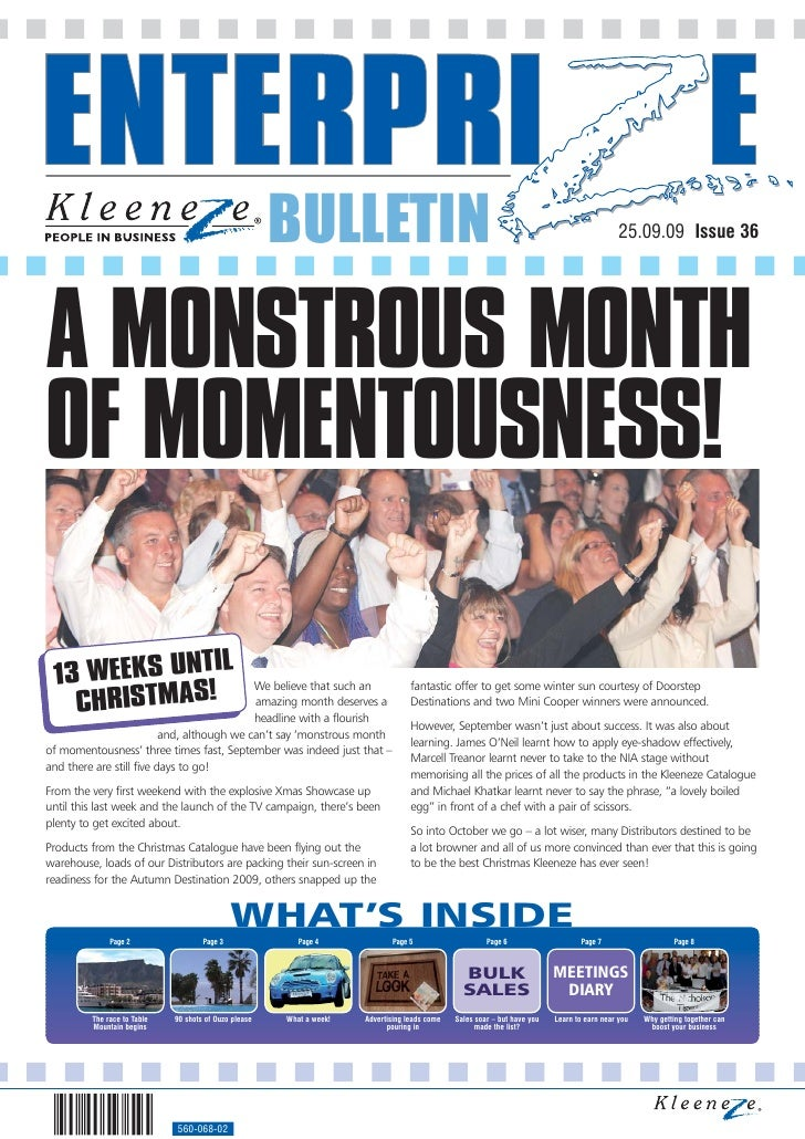 BULLETIN                                                                               25.09.09 Issue 36     A MONSTROUS M...