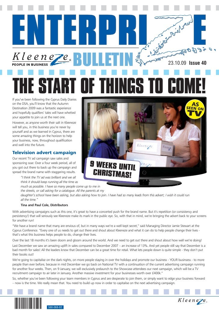 BULLETIN                                                                 23.10.09 Issue 40     THE START OF THINGS TO COME...