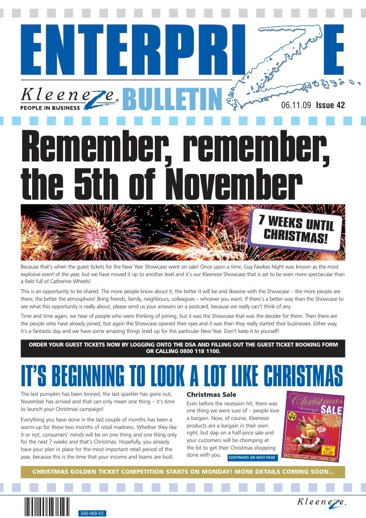 BULLETIN                                                                06.11.09 Issue 42     Remember, remember, the 5th ...