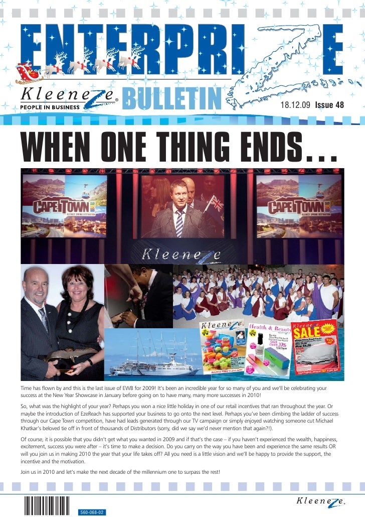 BULLETIN                                                                18.12.09 Issue 48     WHEN ONE THING ENDS…     Tim...