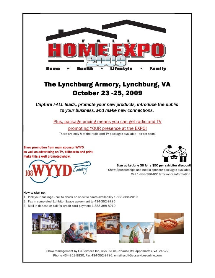 Lynchburg Fall Home Expo 2009 Exhibit Sales Package