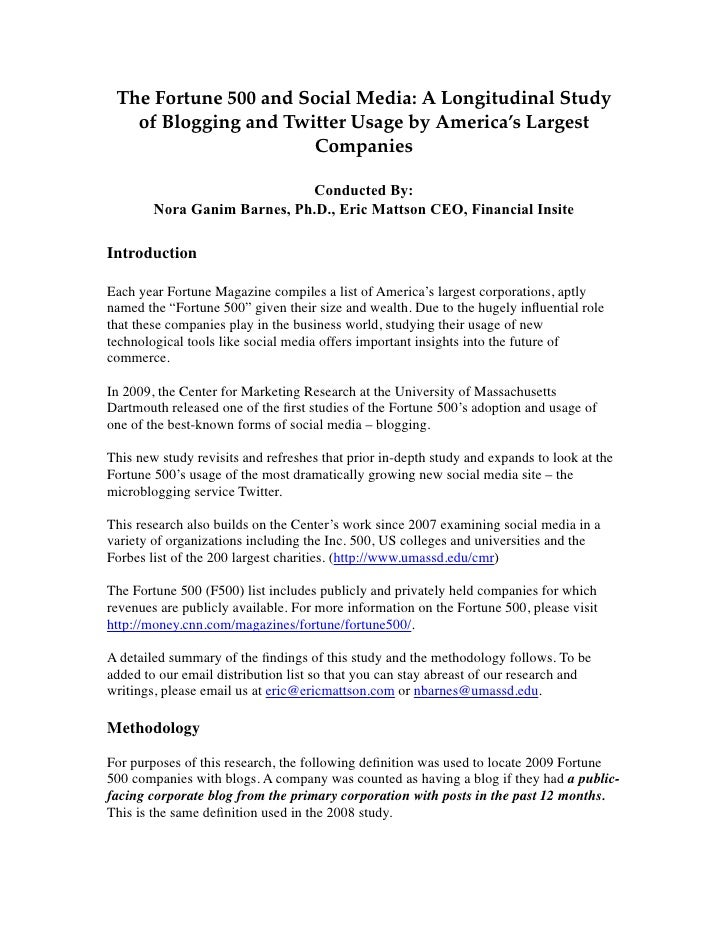 The Fortune 500 and Social Media: A Longitudinal Study    of Blogging and Twitter Usage by America's Largest              ...