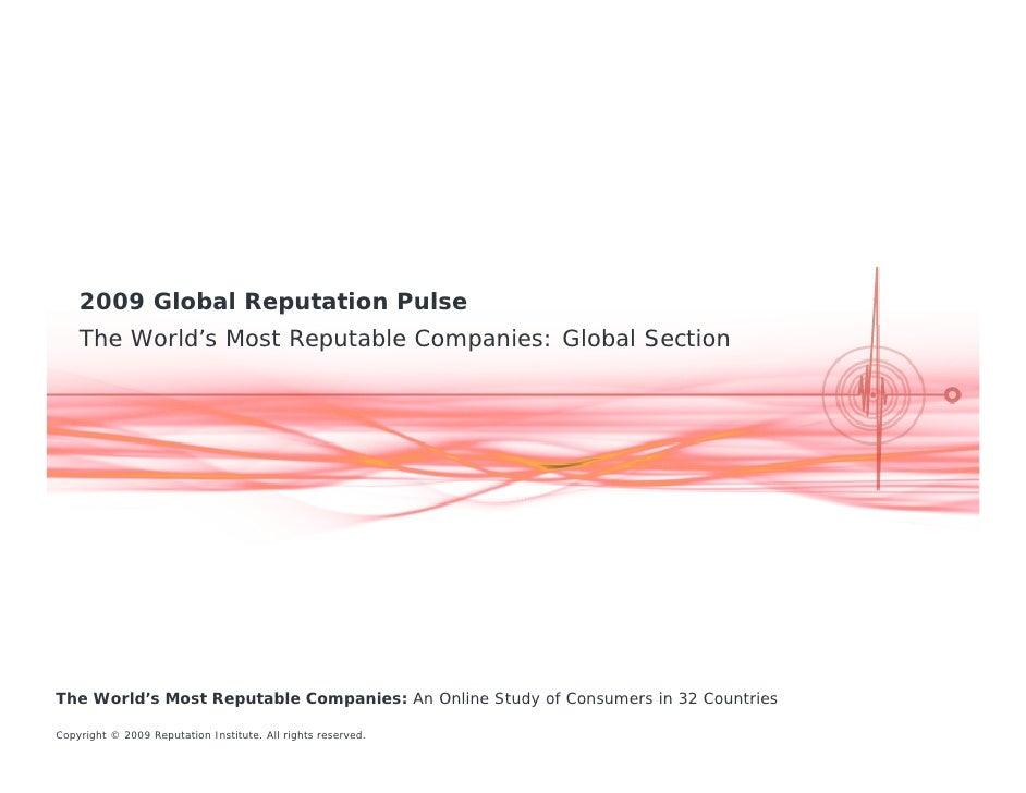 Reputation Institute's - 2009 Global Reputation Pulse Report