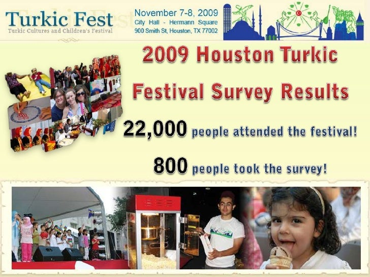 2009 Houston Turkic Festival Survey Results22,000 people attended the festival!800 people took the survey!<br />1<br />