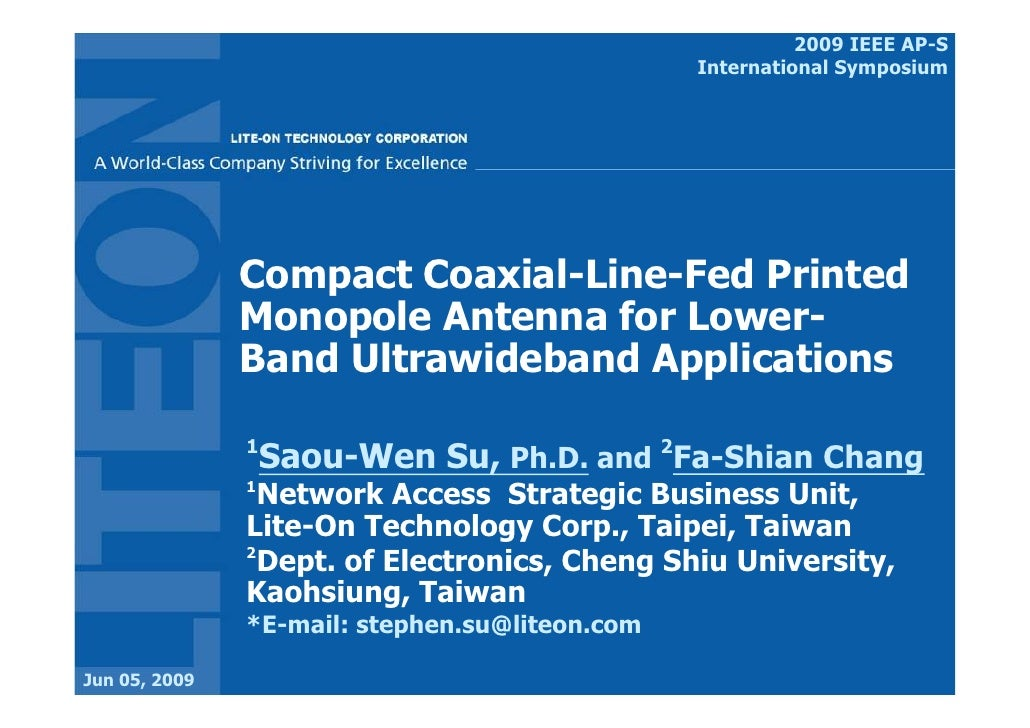 2009 IEEE AP-S                                                 International Symposium                    Compact Coaxial-...