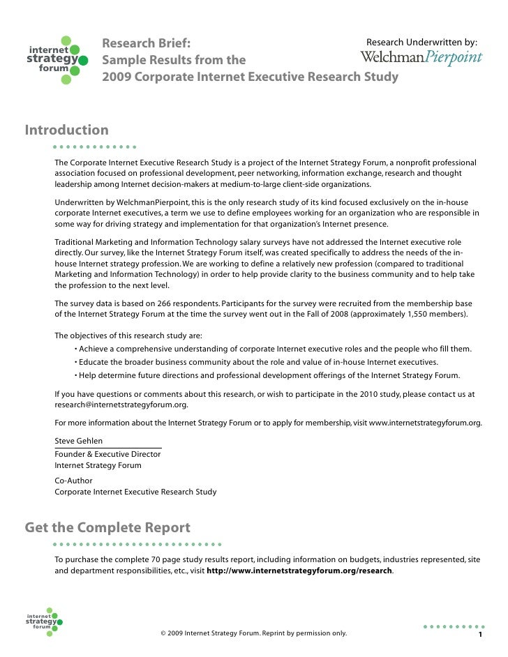 Research Brief:                            Research Underwritten by: internet strategy                Sample Results from ...