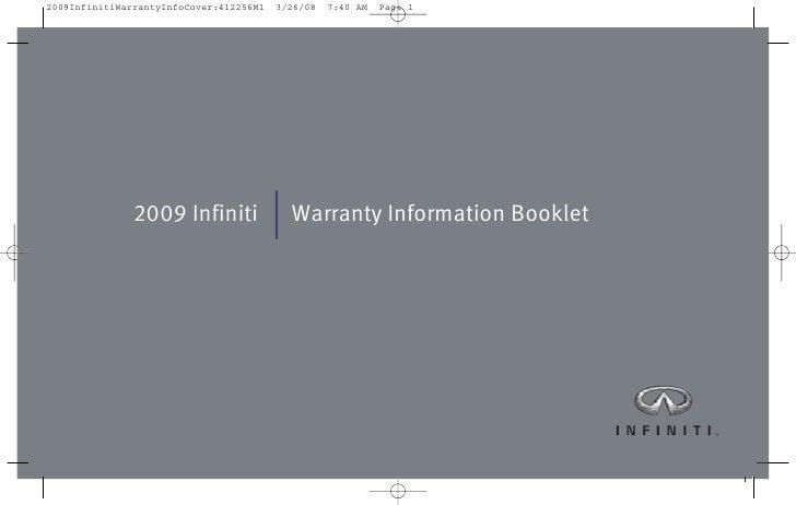 2009 Infiniti   Warranty Information Booklet