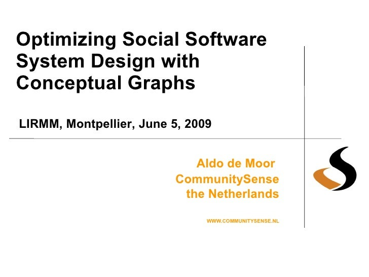 Optimizing Social Software System Design with Conceptual Graphs Aldo de Moor   CommunitySense the Netherlands WWW.COMMUNIT...