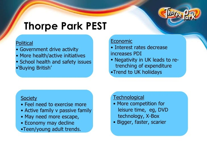 pest analysis alton towers Marketing fundemantals  case study – alton towers introduction alton towers is a theme park based in alton, staffordshire in england, it is owned by merlin entertainments group (meg)it opened as a fun-fair in the early 1960's, and really took off as a theme part in 1980 with the arrival of the corkscrew ride.