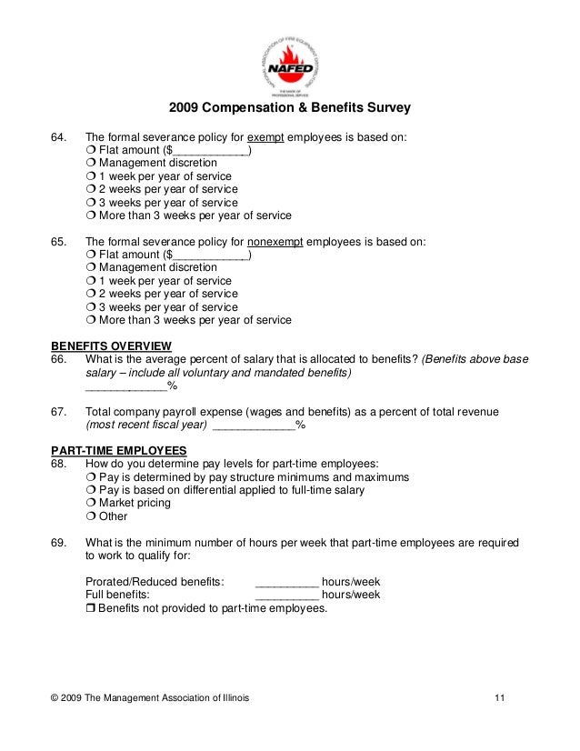 compensation benefits survey questionnaire A study of relationship between satisfaction with compensation and  practical survey consisting of self-administered questionnaire was.