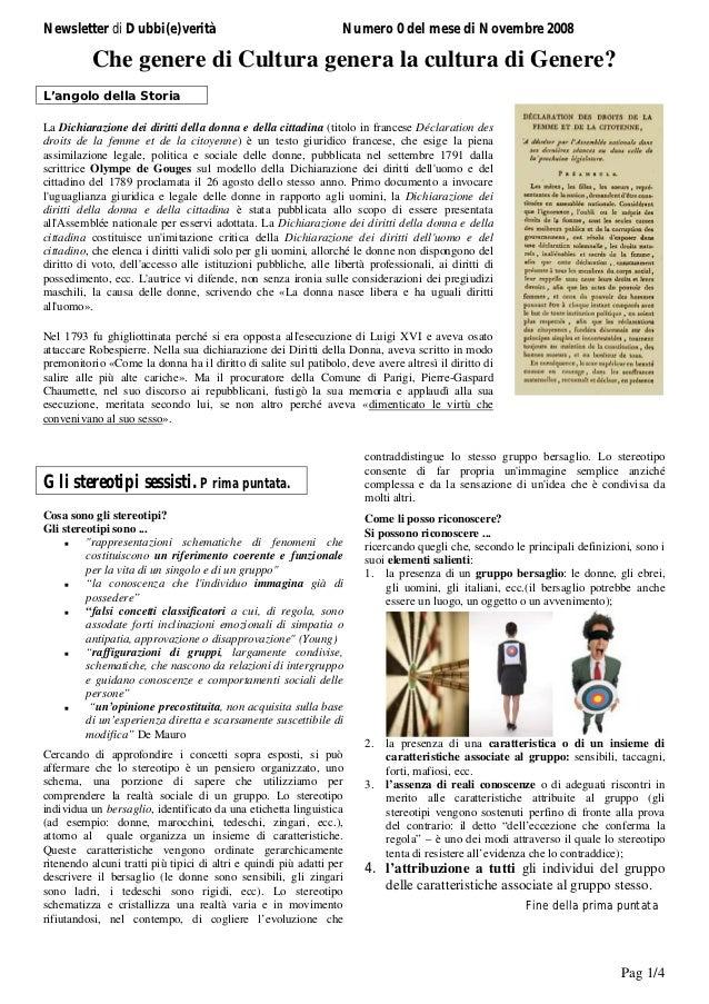 Newsletter di Dubbi(e)verità                                      Numero 0 del mese di Novembre 2008          Che genere d...