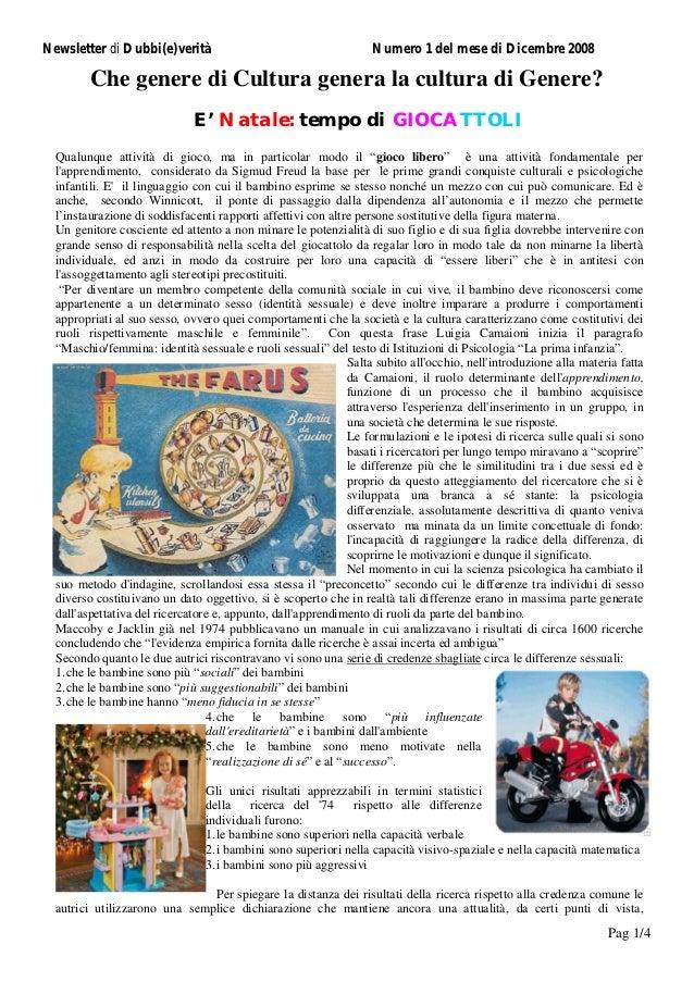 Newsletter di Dubbi(e)verità                                       Numero 1 del mese di Dicembre 2008         Che genere d...