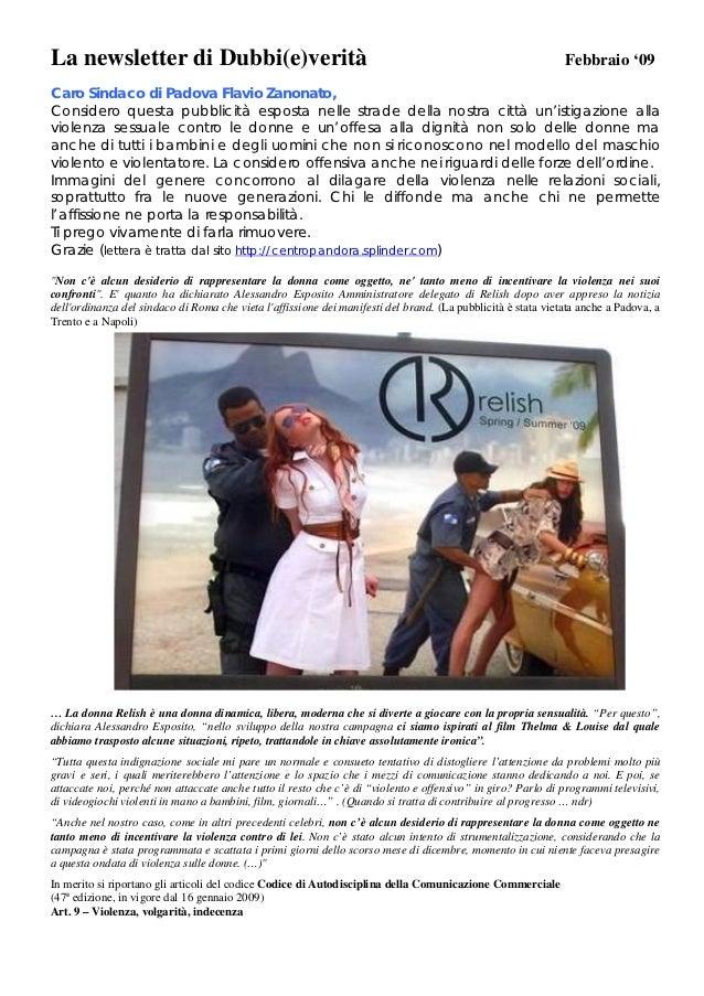 La newsletter di Dubbi(e)verità                                                                               Febbraio '09...