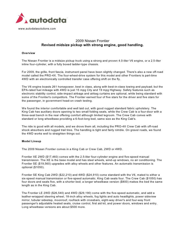 www.autodatasolutions.com                                        2009 Nissan Frontier                  Revised midsize pic...