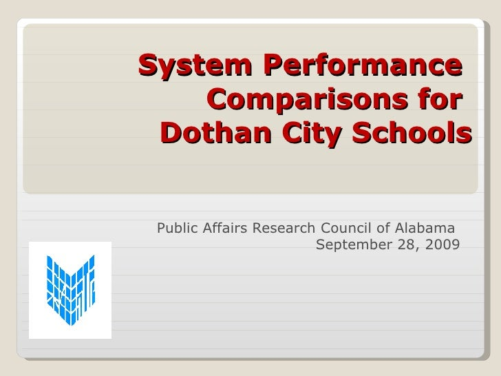 System Performance  Comparisons for  Dothan City Schools Public Affairs Research Council of Alabama  September 28, 2009