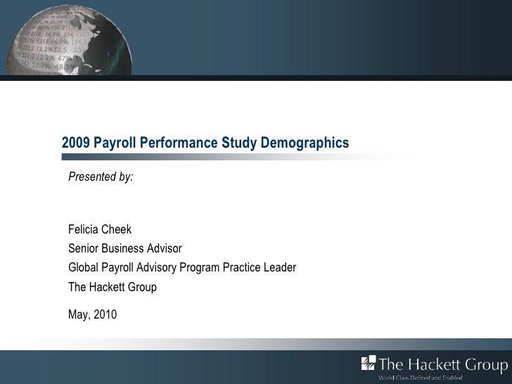 2009 Payroll Performance Study Demographics