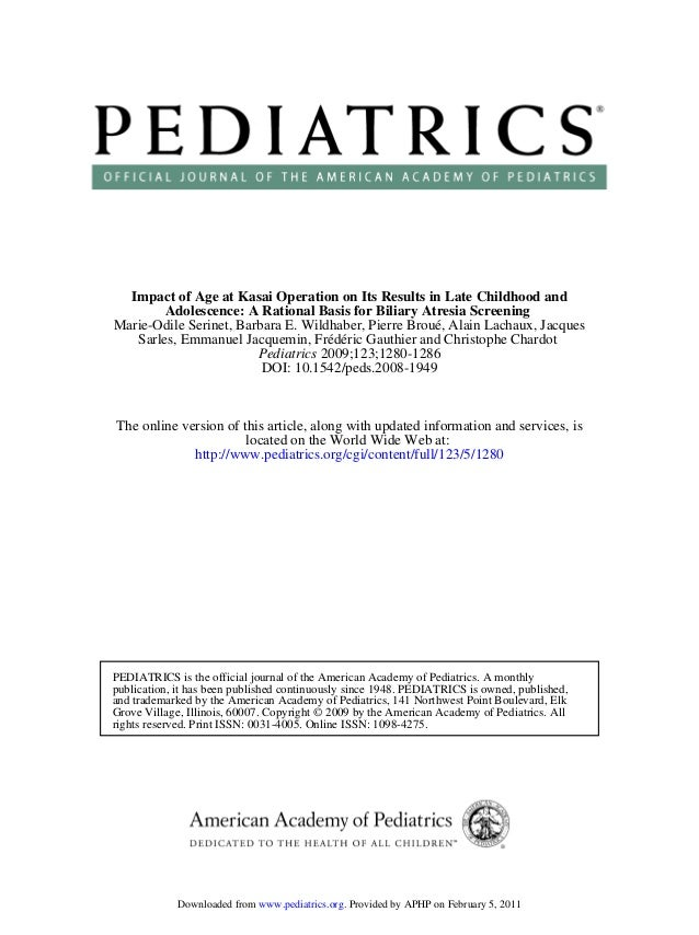 2009 pediatrics late results kasai