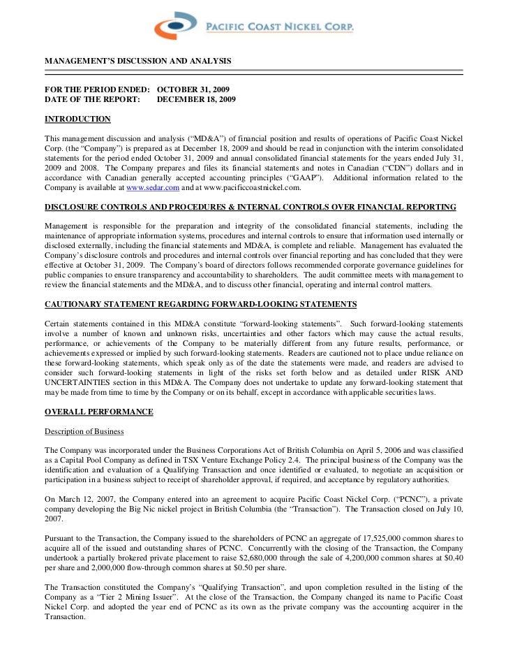 Q3 MD&A & Interim Financial Statements 2009