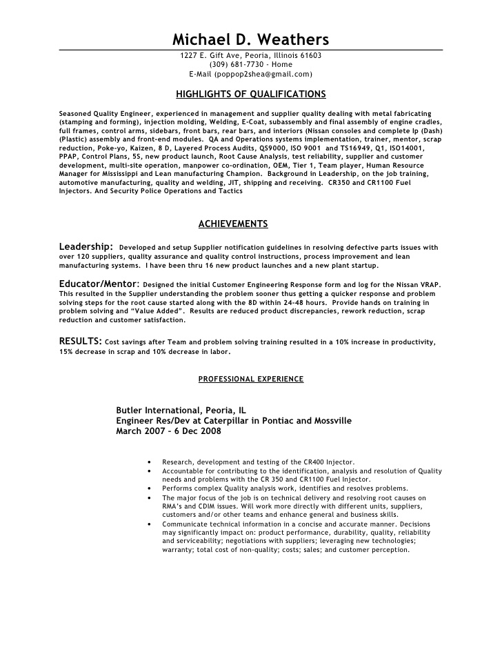 Civil quality control engineer resume