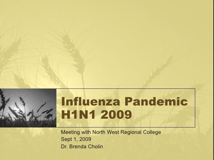 Influenza Pandemic H1N1 2009 Meeting with North West Regional College Sept 1, 2009 Dr. Brenda Cholin