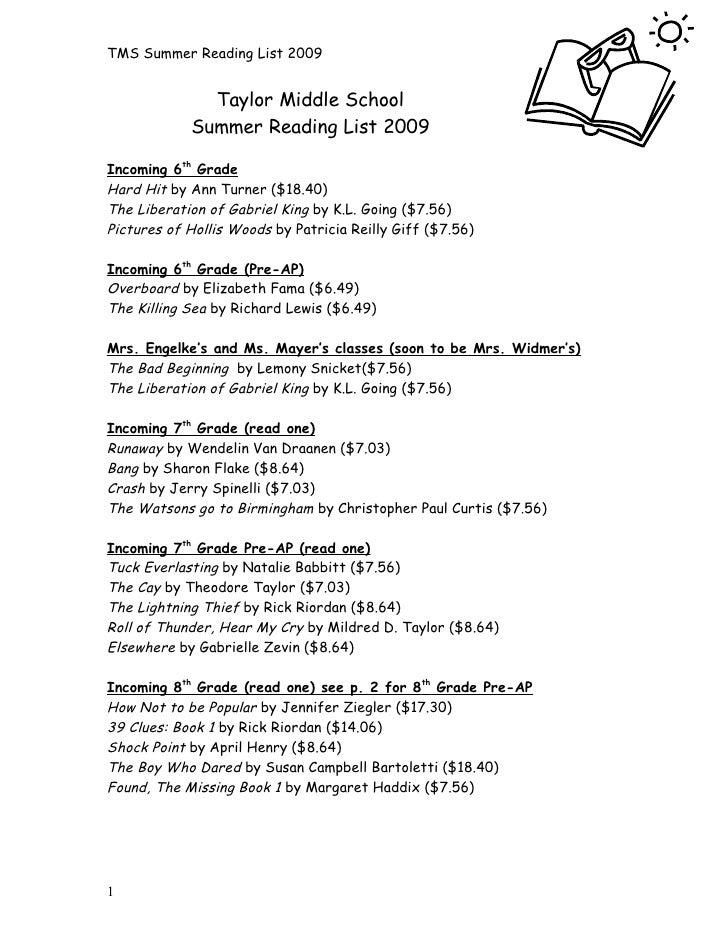 2009 Tms Summer Reading List