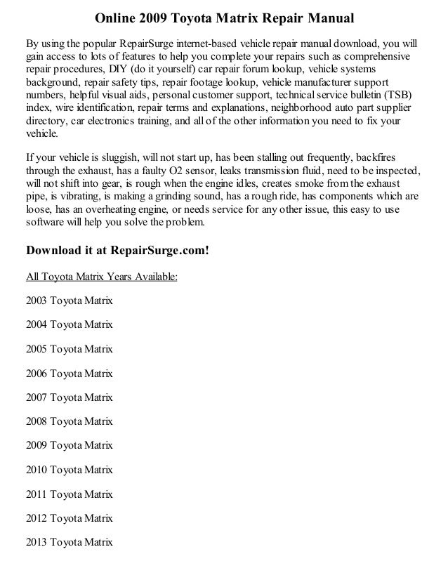 2009 toyota matrix repair manual online. Black Bedroom Furniture Sets. Home Design Ideas