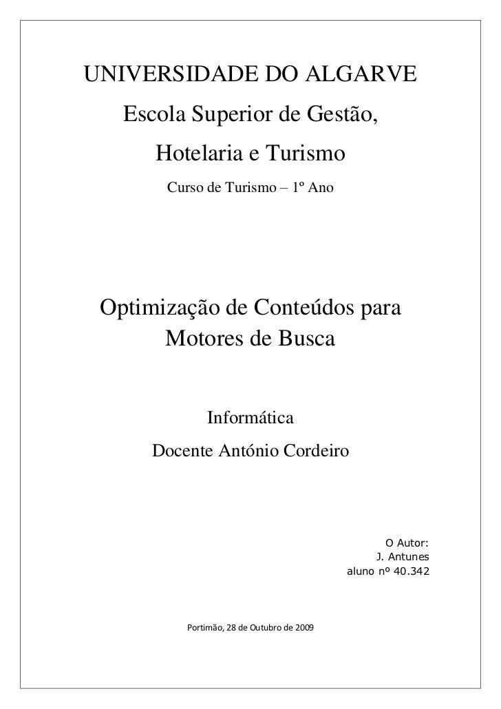 Optimização de Conteúdos para Motores Busca 22.Out.2009