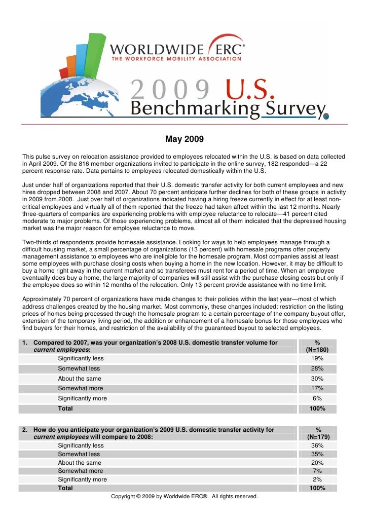 May 2009 This pulse survey on relocation assistance provided to employees relocated within the U.S. is based on data colle...