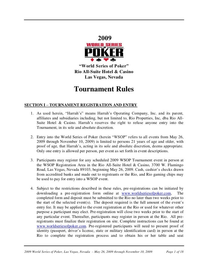 WSOP 2009: Tournament Rules