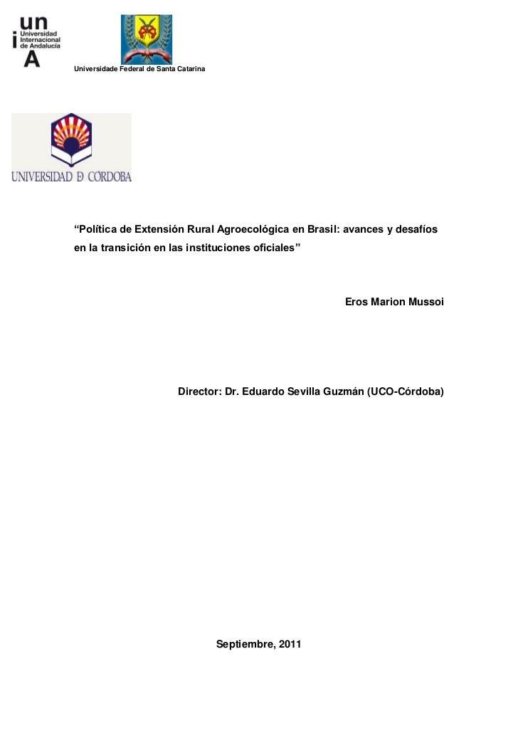 2011 - Mussoi - política de extensión rural agroecológica en brasil