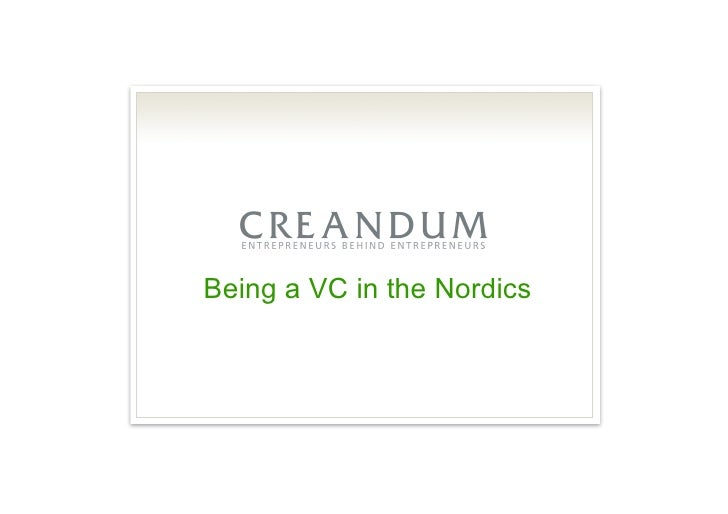 Being a VC in the Nordics