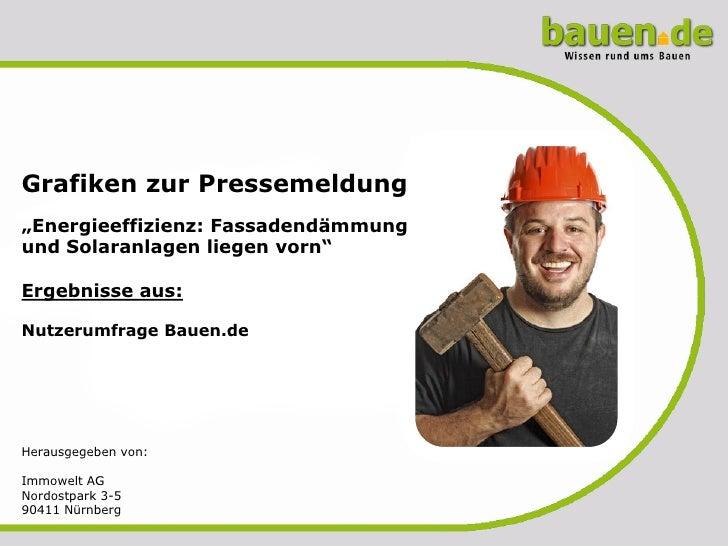 """Grafiken zur Pressemeldung""""Energieeffizienz: Fassadendämmungund Solaranlagen liegen vorn""""Ergebnisse aus:Nutzerumfrage Baue..."""