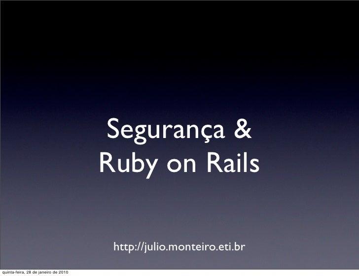 SegurançA E Ruby On Rails