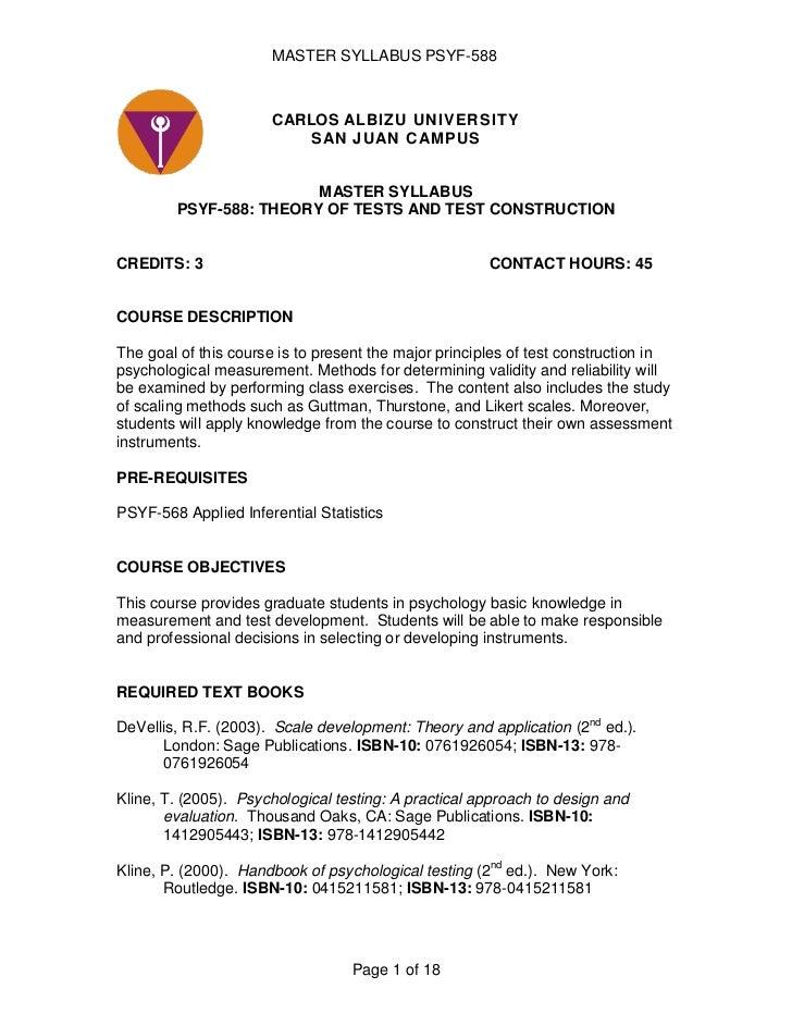 CARLOS ALBIZU UNIVERSITYSAN JUAN CAMPUS<br />MASTER SYLLABUS<br />PSYF-588: THEORY OF TESTS AND TEST CONSTRUCTION<br /><b...