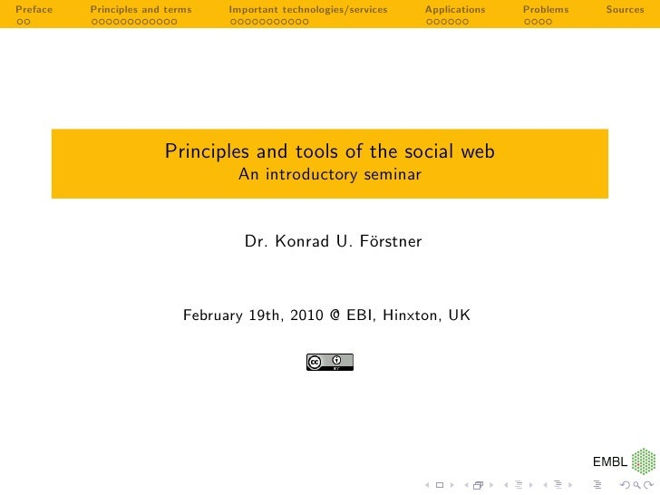 Preface   Principles and terms    Important technologies/services   Applications   Problems   Sources                     ...
