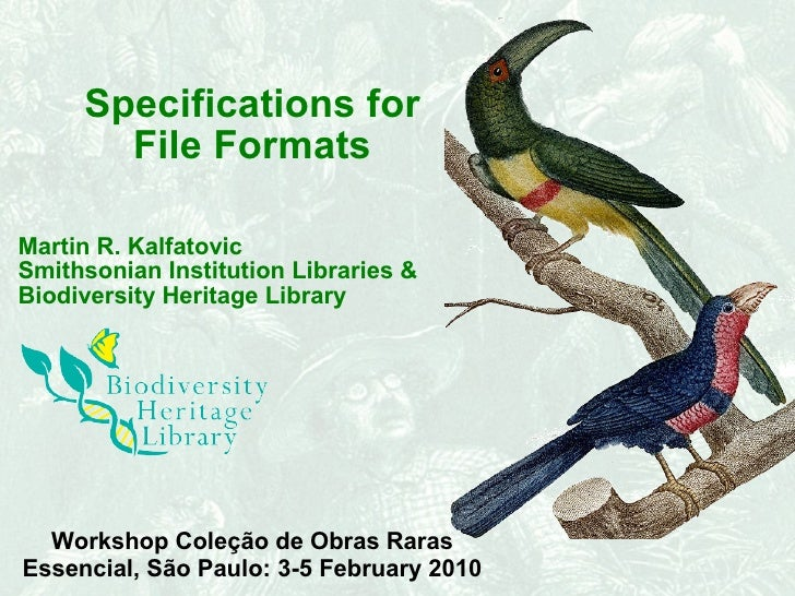 Specifications for File Formats Martin R. Kalfatovic Smithsonian Institution Libraries &  Biodiversity Heritage Library Wo...